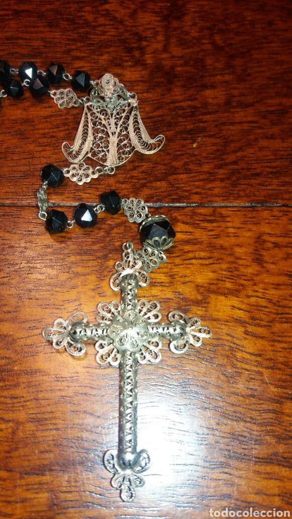 Antigüedades: Antiguo rosario de filigrana de plata y cristal negro - Foto 3 - 72398527