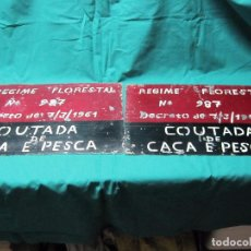 Antigüedades: ANTIGUA CHAPA PLACA PORTUGUESA COTO CAZA REGIME FORESTAL Nº 987 COUTADA DE CACA E PESCA. Lote 72416451