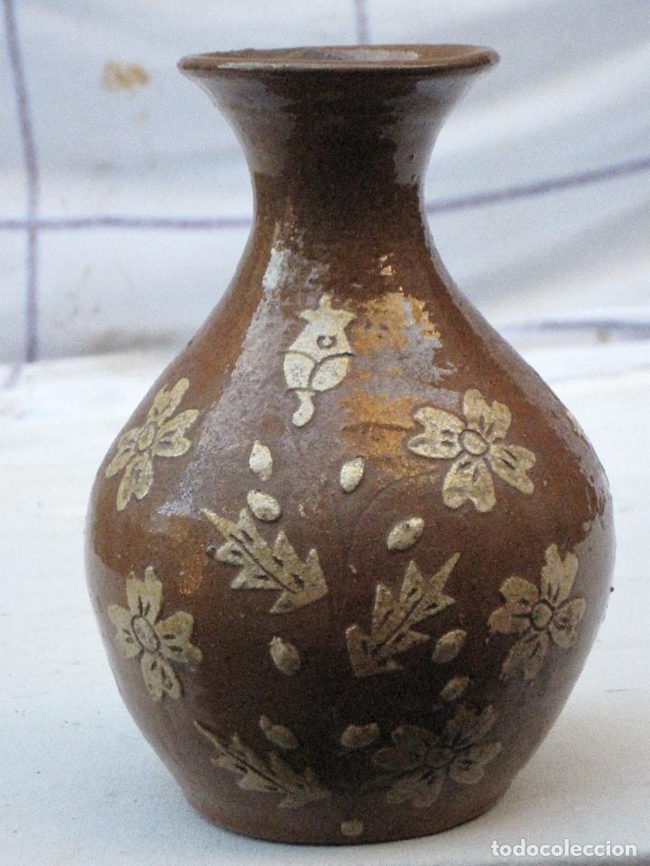 JARRA ANTIGUA SIN ASAS, EN CERAMICA VIDRIADA DE CUERVA ( TOLEDO ) (Antigüedades - Porcelanas y Cerámicas - Otras)