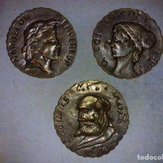Antigüedades: LOTE DE 3 PLACAS DE BRONCE,ANTIGUAS 8 CM DE DIÁMETRO. Lote 72717947