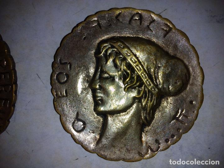 Antigüedades: Lote de 3 placas de bronce,Antiguas 8 cm de diámetro - Foto 3 - 72717947