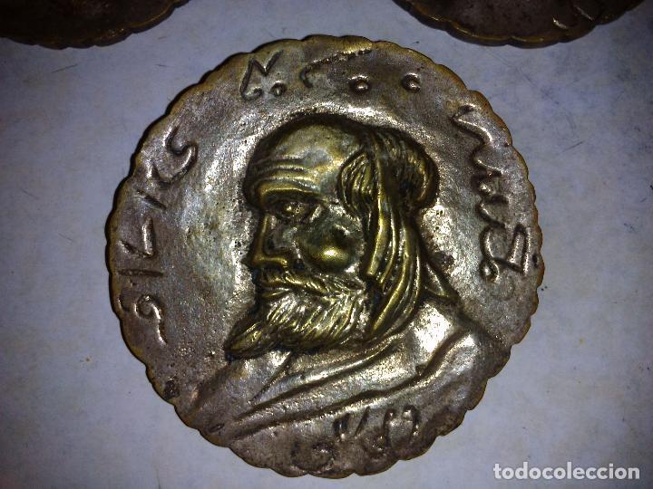 Antigüedades: Lote de 3 placas de bronce,Antiguas 8 cm de diámetro - Foto 4 - 72717947
