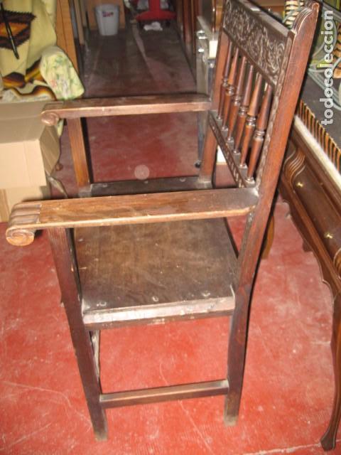 Antigüedades: Sillón de madera frailero buen estado, medida altura 101 cm. ancho 59 cm. fondo 53 cm. - Foto 3 - 72788895