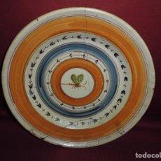 Antigüedades: MAGNIFICO PLATO ANTIGUO SIGLO XVIII-XIX EN CERAMICA POLICROMADA. Lote 72822679