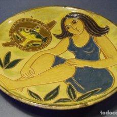 Antigüedades: PLATO DE TERRISSA CATALANA ESMALTADA XX . Lote 72824715