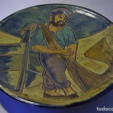 Antigüedades: PLATO DE TERRISSA CATALANA ESMALTADA XX . Lote 72825979