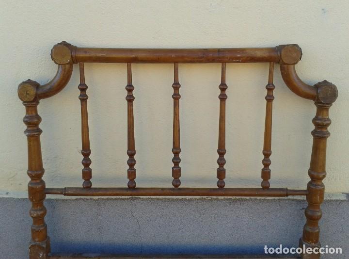 Antigüedades: Cama antigua modernista s.XIX cabecero antiguo de madera tipo colonial cama rústica cabecero rústico - Foto 3 - 72828055
