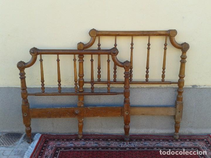 Antigüedades: Cama antigua modernista s.XIX cabecero antiguo de madera tipo colonial cama rústica cabecero rústico - Foto 13 - 72828055