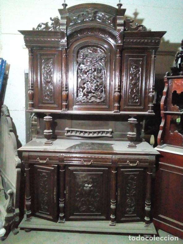 Extraordinario mueble tallado a mano en madera comprar - Muebles de madera antiguos ...
