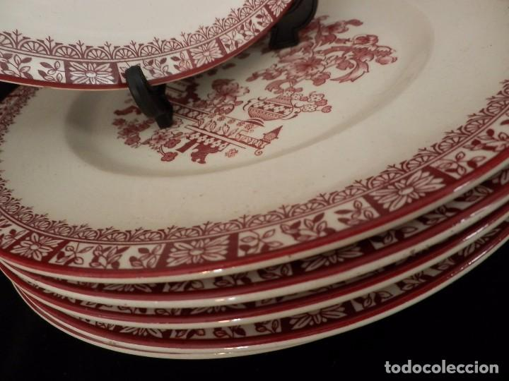 Antigüedades: Conjunto 6 platos de Oviedo Cerámicas Las Cies, Grifé Escoda - 25cms - Foto 3 - 72879779