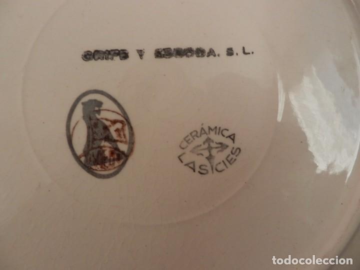 Antigüedades: Conjunto 6 platos de Oviedo Cerámicas Las Cies, Grifé Escoda - 25cms - Foto 4 - 72879779