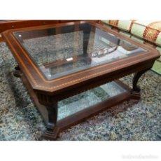 Antigüedades: MESA CENTRO NOGAL MEDIDAS 100 X 100. Lote 72951595