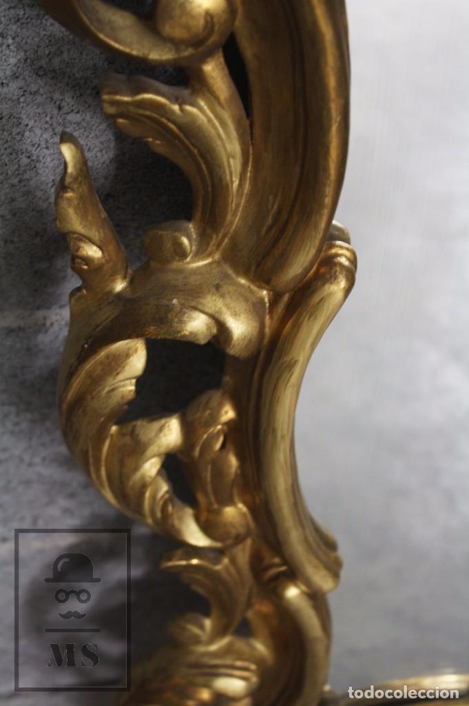 Antigüedades: Antiguo Espejo Rococó de Madera Tallada y Dorada - Siglo XIX - Medidas 61 x 89 x 5 cm - Foto 4 - 72951891