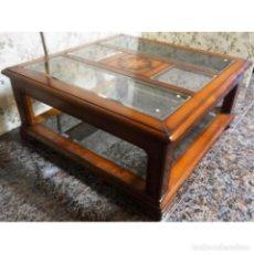 Antigüedades: MESA CENTRO CEREZO CRISTALES 105 X 105. Lote 72953179