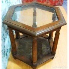 Antigüedades: MESA CENTRO EXAGONAL RINCON 65 X 65. Lote 72956051
