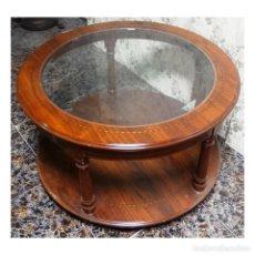 Antigüedades: MESA CENTRO REDONDA NOGAL 80. Lote 72957491