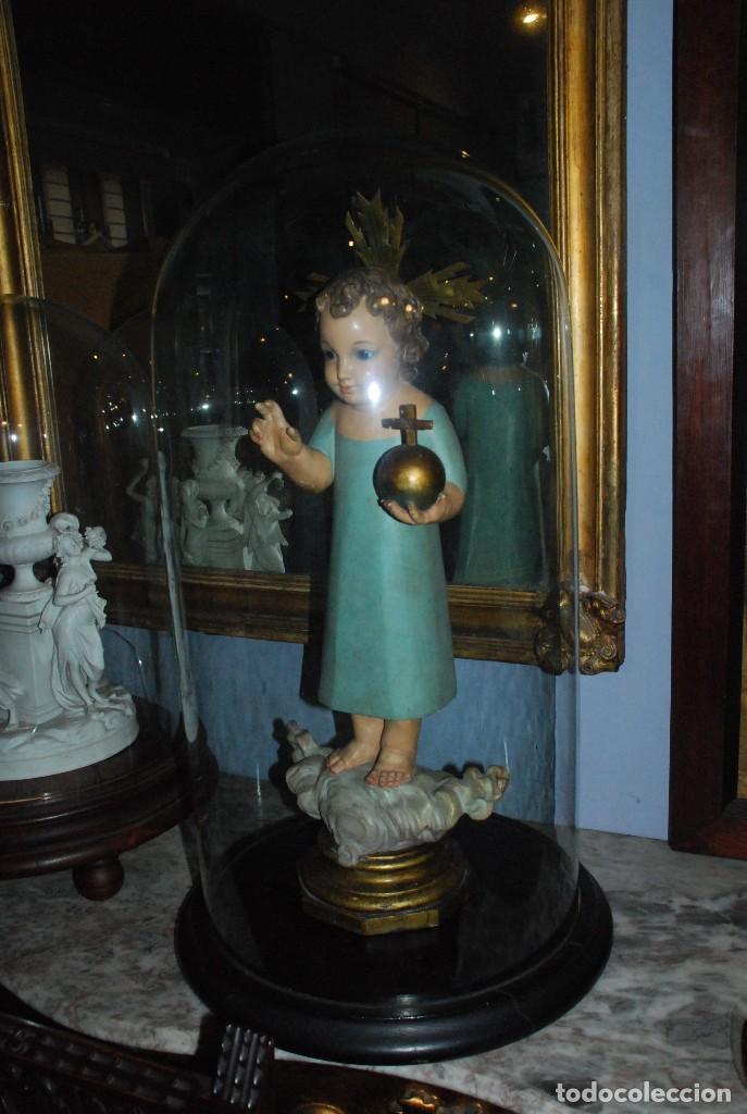 ANTIGUO FANAL DE CRISTAL CON BASE DE MADERA (Antigüedades - Cristal y Vidrio - Otros)