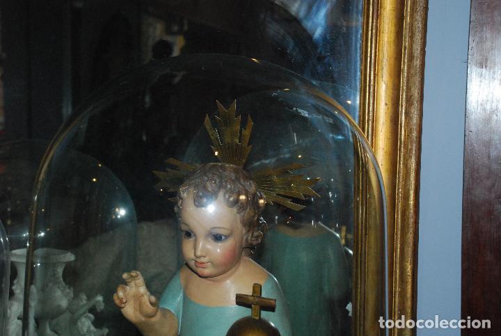 Antigüedades: ANTIGUO FANAL DE CRISTAL CON BASE DE MADERA - Foto 2 - 73001279