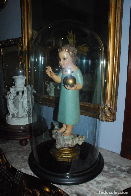 Antigüedades: ANTIGUO FANAL DE CRISTAL CON BASE DE MADERA - Foto 5 - 73001279