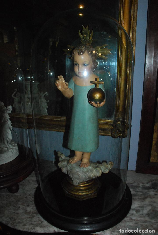 Antigüedades: ANTIGUO FANAL DE CRISTAL CON BASE DE MADERA - Foto 6 - 73001279