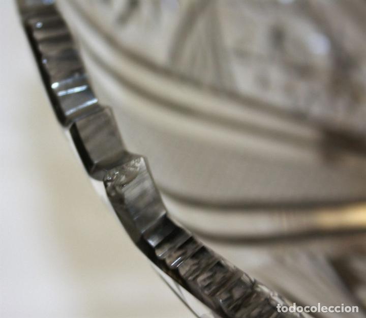 Antigüedades: CENTRO DE MESA. CRISTAL TALLADO A MANO. BASE DE PLATA. ESPAÑA. CIRCA 1950 - Foto 4 - 73008347