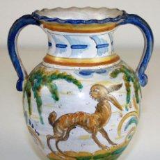 Antigüedades: JARRÓN. CERÁMICA ESMALTADA. FIRMADO SASO. TALAVERA. PRIMERA MITAD SIGLO XX. Lote 73008739