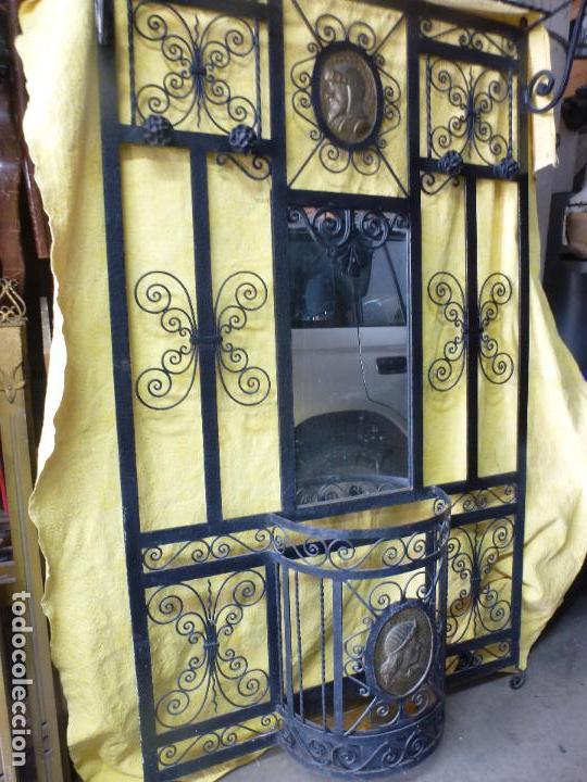 Antigüedades: Antiguo paragüero, perchero. en Hierro forjado. Mueble recibidor - Foto 7 - 145961362