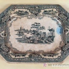Antigüedades: ANTIGUA BANDEJA OCHAVADA DE CERAMICA PORTUGUESA SIGLO XIX MCLAREN PORTO PORTUGAL. Lote 73044455