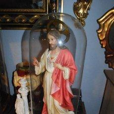 Antigüedades: ANTIGUO FANAL DE CRISTAL CON PEANA DE MADERA. Lote 73046131