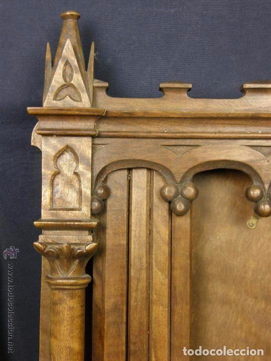 Antigüedades: Hornacina expositor nogal sagrario puertas persiana columnas pinaculos neogotica - Foto 11 - 73048971