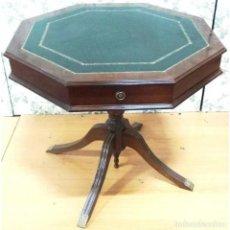 Antiquitäten - MESA JUEGO OCTOGONAL NOGAL Y POLIPIEL VERDE - 73088667