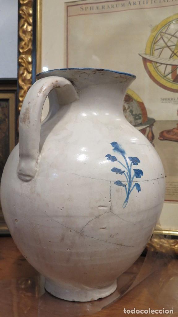 Antigüedades: ENORME JARRA DE TALAVERA. SERIE FLOR ADORMIDERA. SIGLO XVIII - Foto 5 - 73129263