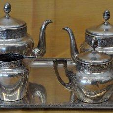 Antigüedades: PRECIOSO JUEGO DE CAFÉ REALIZADO EN PLATA DEL ORFEBRE VACHIER Y PALLE. CIRCA 1930. Lote 73223883