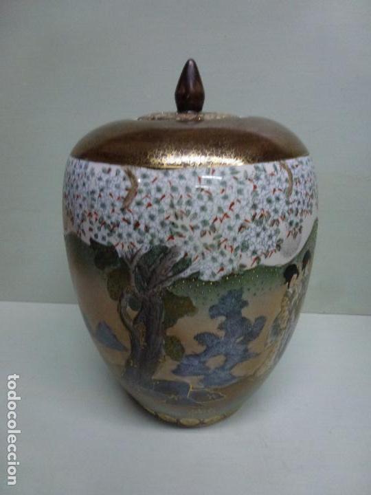 Antigüedades: Tibor, porcelana china. S. XX. Alegórico geisas. - Foto 5 - 73466499