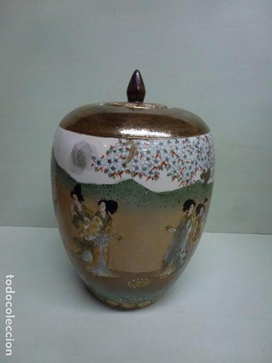 Antigüedades: Tibor, porcelana china. S. XX. Alegórico geisas. - Foto 6 - 73466499