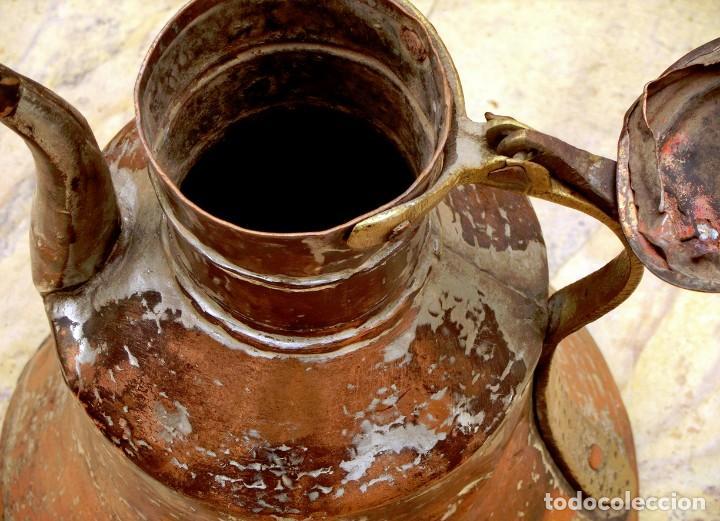 Antigüedades: ANTIGUA Y PRECIOSA JARRA DE COBRE CON TAPA - ASA DE HIERRO / BRONCE - DECORACIÓN RÚSTICA - - Foto 12 - 73497935