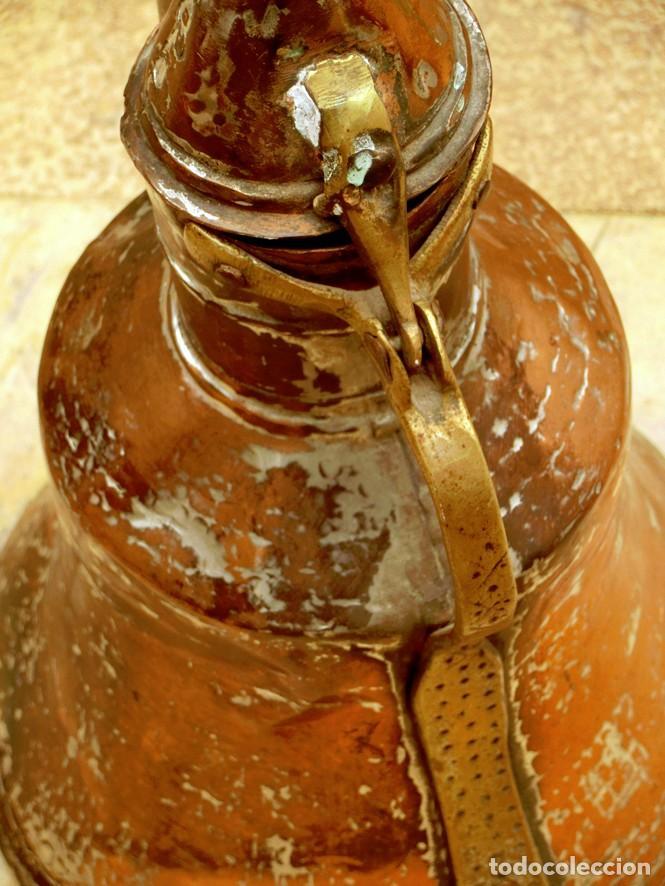 Antigüedades: ANTIGUA Y PRECIOSA JARRA DE COBRE CON TAPA - ASA DE HIERRO / BRONCE - DECORACIÓN RÚSTICA - - Foto 18 - 73497935