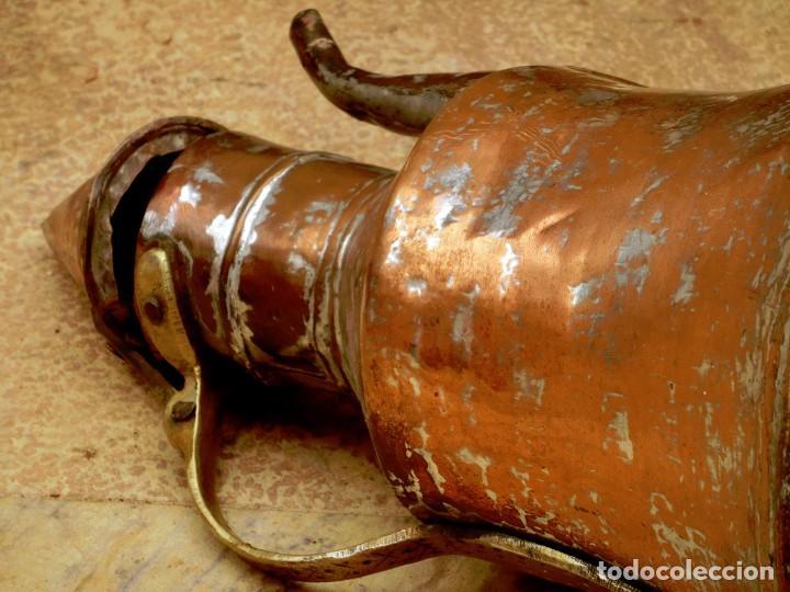 Antigüedades: ANTIGUA Y PRECIOSA JARRA DE COBRE CON TAPA - ASA DE HIERRO / BRONCE - DECORACIÓN RÚSTICA - - Foto 23 - 73497935