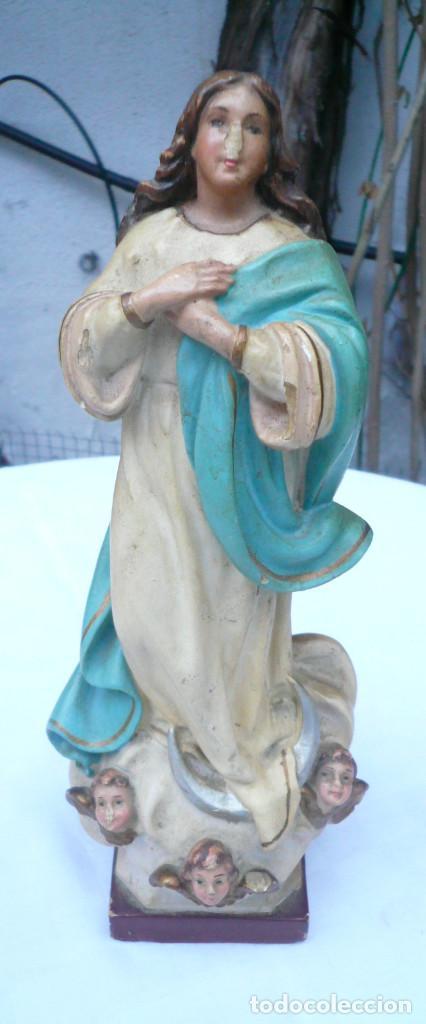 INMACULADA CONCEPCIÓN ANTIGUA. SELLO DE OLOT. ALTURA 23 CM (Antigüedades - Religiosas - Varios)