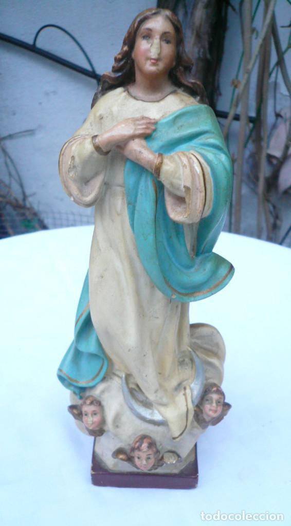 Antigüedades: INMACULADA CONCEPCIÓN ANTIGUA. SELLO DE OLOT. ALTURA 23 CM - Foto 18 - 73513499
