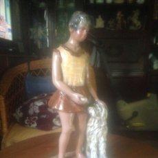 Antigüedades: FIGURA EN CERÁMICA Y PINTADO A MANO, ANTIGUA. Lote 73536067