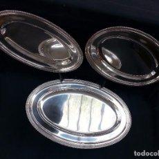 Antigüedades: BANDEJAS DE METAL PLATEADO DEVON .TRIO.-. Lote 73538535