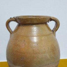 Antigüedades: OLLA SEMI VIDRIADA DE ALFAR EXTINGUIDO ESPAÑOL.. Lote 73648251