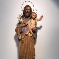 Antigüedades: SAN JOSE CON NIÑO JESUS DE ESTUCO ANTIGUO PARA RESTAURAR. 45CM.. Lote 73657755