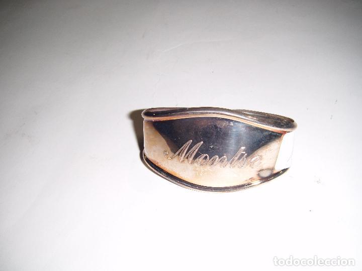 Antigüedades: ARO PARA SERVILLETA ANTIGUO EN METAL INSCRIPCIÓN NOMBRE MONTSE - Foto 5 - 73660331