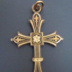 Antigüedades: ANTIGUO COLGANTE CRUZ RELIGIOSA. CRUCIFIJO. HECHO A MANO.. Lote 73683379