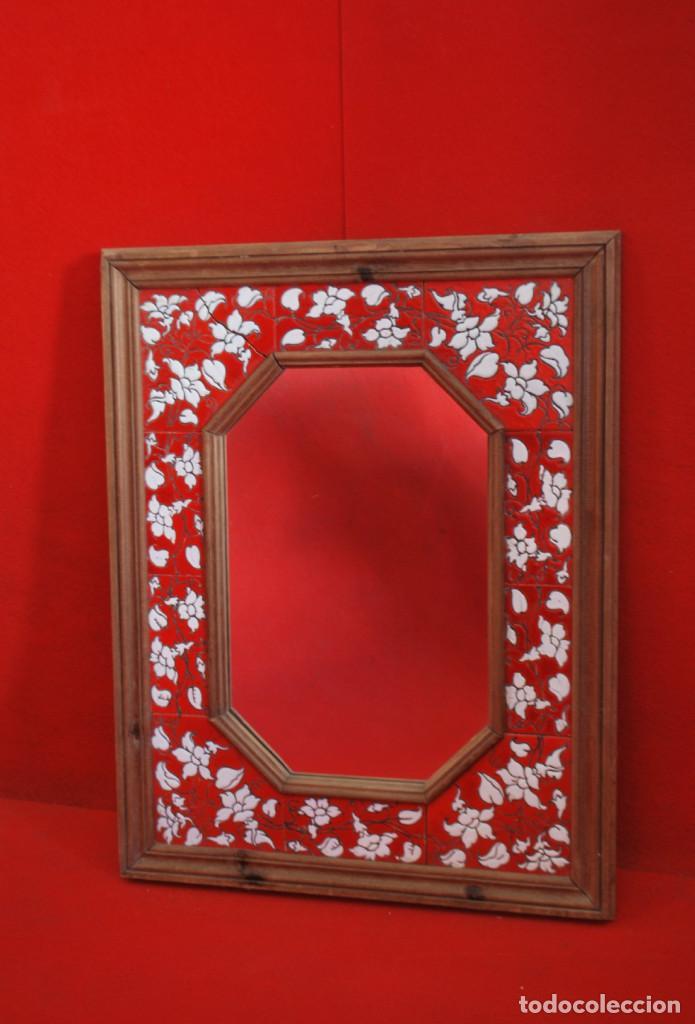 espejo marco madera con baldosines pintados roj - Comprar Espejos ...