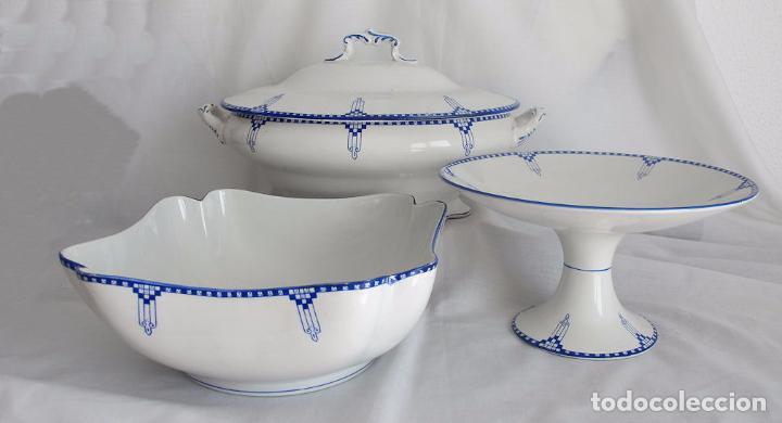 LOTE TRES PIEZAS ANTIGUAS PORCELANA SAN JUAN SEVILLA ART DECO (Antigüedades - Porcelanas y Cerámicas - San Juan de Aznalfarache)