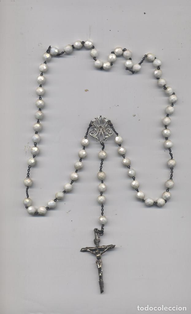 ANTIGUO ROSARIO DE PLATA (Antigüedades - Religiosas - Rosarios Antiguos)
