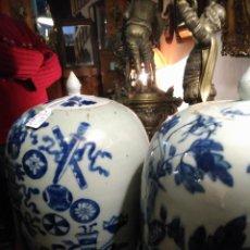 Antigüedades: TIBOR IMPRESIONANTE PAREJA JARRONES PORCELANA CHINA AZUL ÉPOCA KANGXI (1668-1722) H.1690. QUING 9800. Lote 73745435